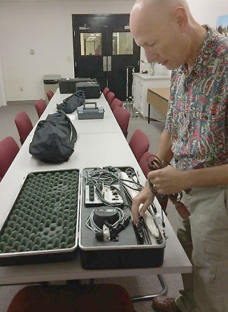 David Weintraub checks Visual Communication sequence's Novatron lighting kits.