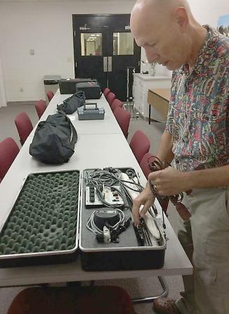 David Weintraub checks Visual Communication sequence's Novatron lighting kits.