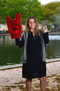 Team 2 wins the prize for the best prop with this photo of grad student Cat Carter and her foam finger.